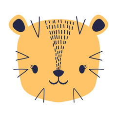 cute tiger icon over white background, colorful desing. vector illustration