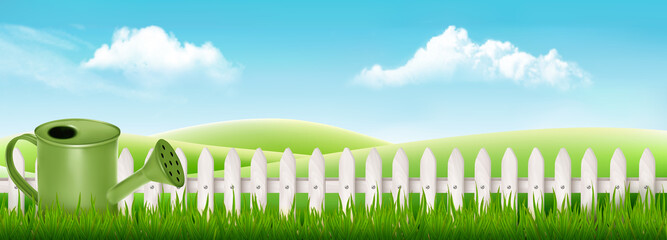 Wall Mural - Watering can on spring garden background with green grass. Vector.