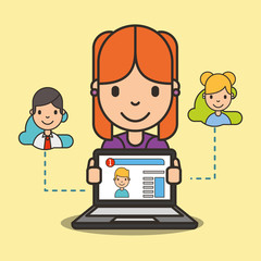 social media girl chatting online with her friend vector illustration
