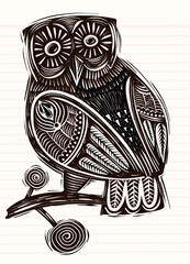 Hand Drawn Vector Illustration of  Owl woodcut  isolated vector illustration