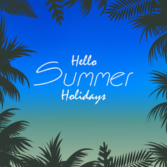 Summer holiday background with blurred background and palm tree. Vector