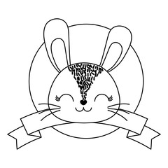 emblem of cute animals concept with decorative ribbon and cute rabbit icon over white background, vector illustration