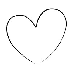 sketch of heart icon over white background, vector illustratration