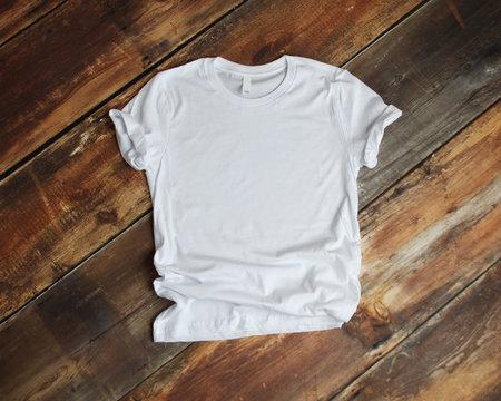 White T Shirt mockup flat lay on wood