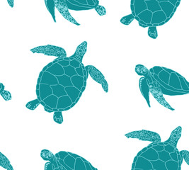 Sea turtles seamless background