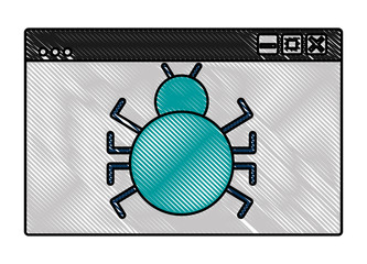 cyber security website page bug virus attack vector illustration