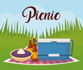 picnic landscape concept with cooler and beer bottles, colorful design. vector illustration