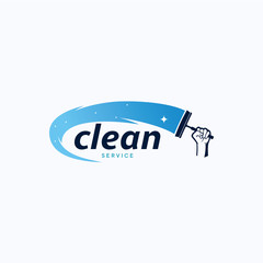 Cleaning Service Logo Template Design. Creative Vector Emblem, for Icon or Design Concept.