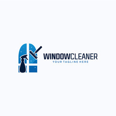 Window Cleaner Logo Template Design. Creative Vector Emblem, for Icon or Design Concept.