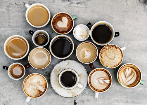 Aerial view of various coffee