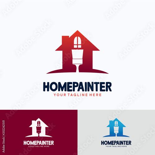 home painter logo template design creative vector emblem for icon
