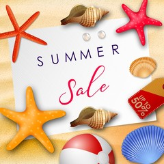 Summer sale background with white paper for text, seashells, beach ball, pearls, and price tag