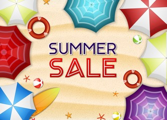 Summer sale background. Top view of many umbrellas, surfboard, buoy, starfish, and beach ball