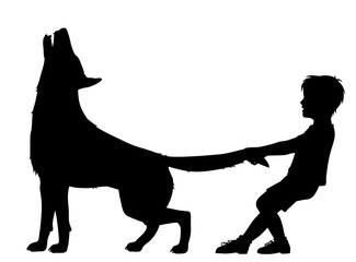 Boy pulling wolf tail