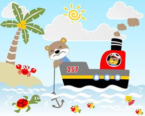 Funny sailor on the boat, vector cartoon illustration