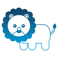 cute baby lion animal image vector illustration degraded color