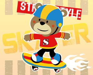 Animal skater in action, vector cartoon illustration