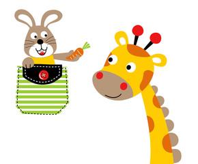 Nice giraffe with bunny on a pocket, vector cartoon illustration