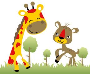 Nice giraffe with deer, vector cartoon illustration