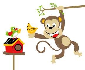 Nice monkey and bird, vector cartoon illustration