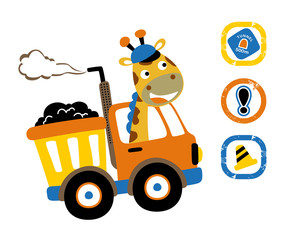 giraffe driving truck with traffic signs, vector cartoon illustration