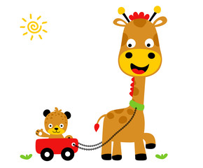 animals playing time, Giraffe and tiger,  vector cartoon illustration