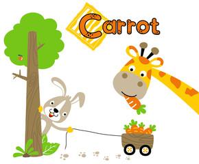 carrot harvest with giraffe and rabbit, vector cartoon illustration