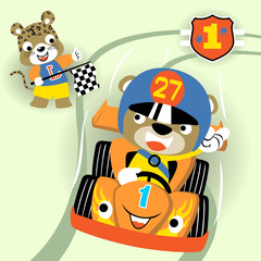 animals racing car competition, vector cartoon illustration