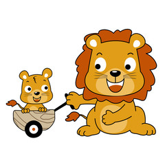 happy lion family, vector cartoon illustration