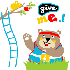 bear and mouse in the garden, vector cartoon illustration