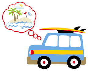 holiday time, go to beach, vector cartoon illustration