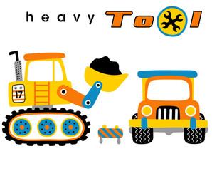 Construction equipment, heavy tools, vector cartoon illustration