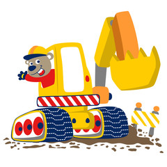 heavy tool vector cartoon with funny worker