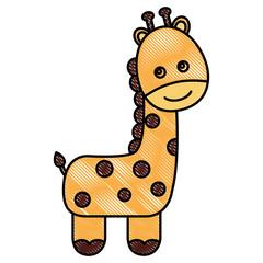 cute baby giraffe animal image vector illustration drawing