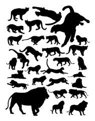 Lions animal detail silhouette. Vector, illustration. Good use for symbol, logo, web icon, mascot, sign, or any design you want.