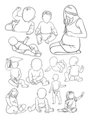 Woman and baby line art. Vector, illustration. Good use for symbol, logo, web icon, coloring, mascot, sign, or any design you want.