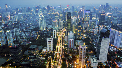 Aerial view of night lights in Jakarta city