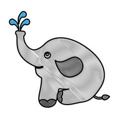 cute baby elephant sitting animal vector illustration drawing