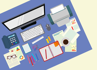 Desk. Office. Realistic workplace organization. The view from the top. Vector stock illustration.