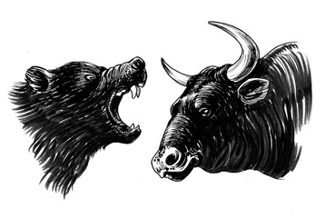Fighting bear and bull. Ink black and white illustration
