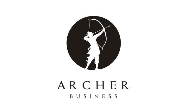 Elegant Silhouette Archer, Chinese Warrior with Bow Arrow Logo design