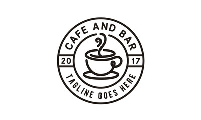 Coffee Cup Stamp for Cafe Label logo design