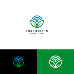 Leaf nature, w-ifi logo template download - template vector illustration