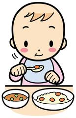 もぐもぐ食べる赤ちゃん