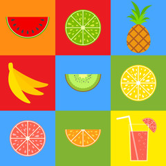Set of colored isolated mouth-watering fruits. Bright tropical food. Lemon, grapefruit, orange, pineapple, kiwi, banana, watermelon. Cocktail with a straw. Simple flat vector illustration.