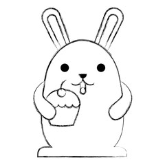 cute kawaii rabbit cartoon holding sweet cupcake vector illustration sketch