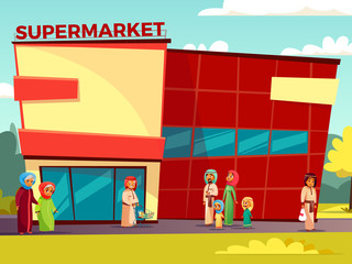 Vector cartoon arab characters near supermarket concept. Happy saudi, emirates muslim family, senior man, khaliji woman in hijab, parents, father mother, teen boy, girl going for products holding bags