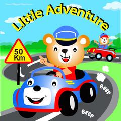 drive the car little adventure animal cartoon vector