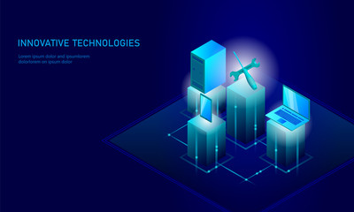 Computer service repair isometric. 3d blue flat technical support screwdriver future modern banner business technology. Process PC test diagnostic infographic background vector illustration