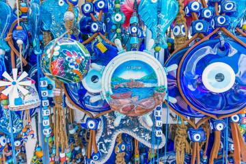 Different kind of blue souvenirs about Bodrum town